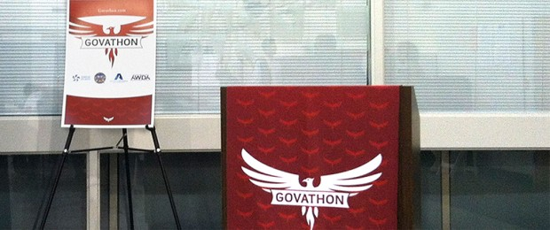 Day of the Govathon: easel and presentation podium