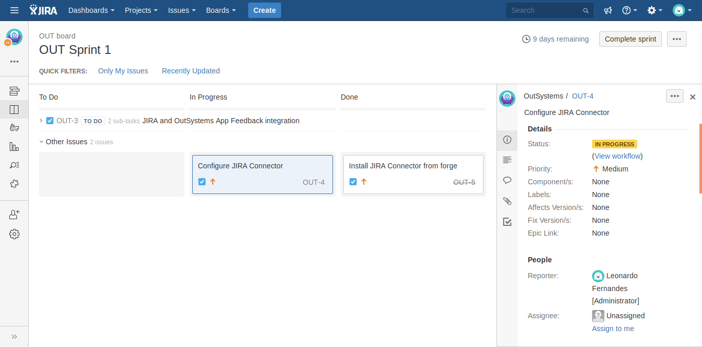 JIRA integration front end