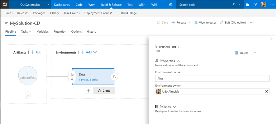 VSTS extension walkthrough: Naming release definition environments