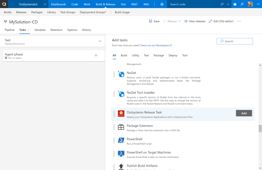 VSTS extension walkthrough: Adding the OutSystems release task