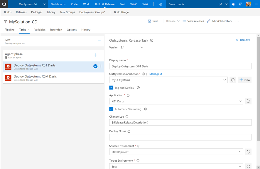 VSTS extension walkthrough: OutSystems release task configuration form