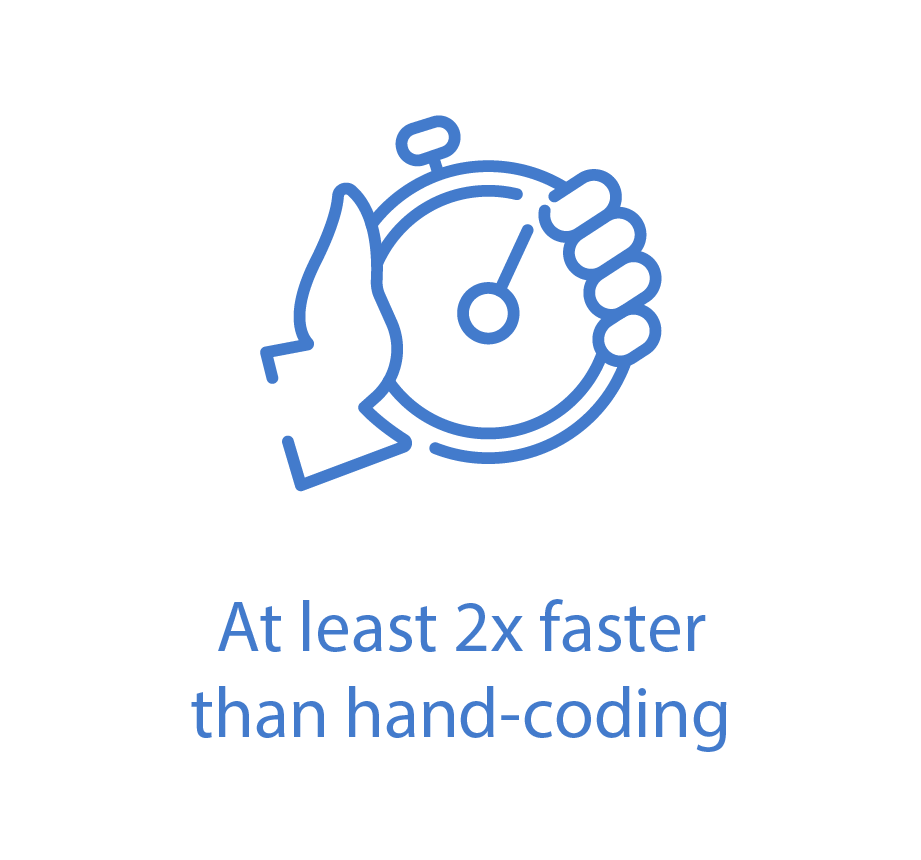 At least 2x faster hand-coding