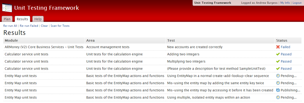 Screenshot of Unit Testing Framework executing series of unit tests