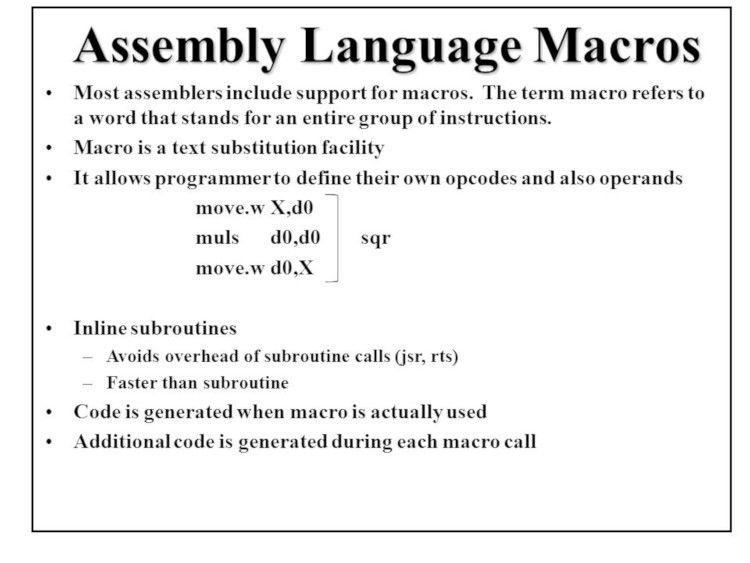 Assembly Language Macros