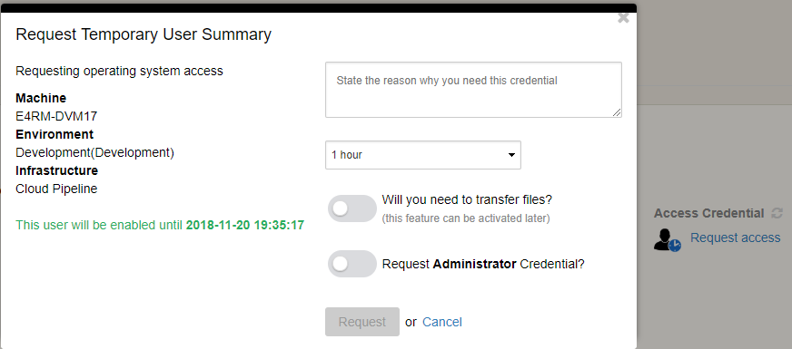 Screenshot of the Temporary User request UI