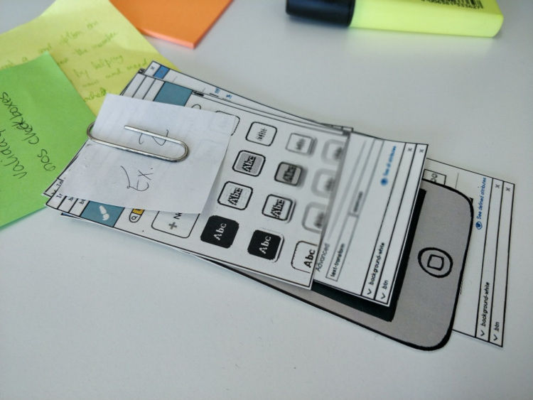 An example of paper prototyping (for Styles Editor).