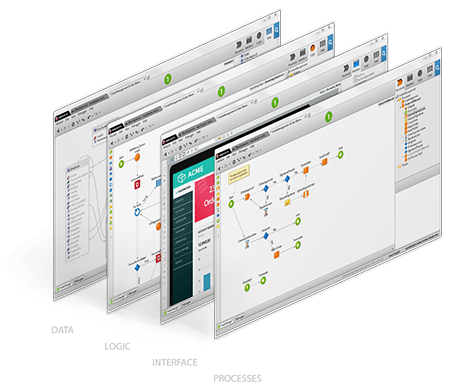 OutSystems data, logic, interface, and processes layer - more clicking, less coding